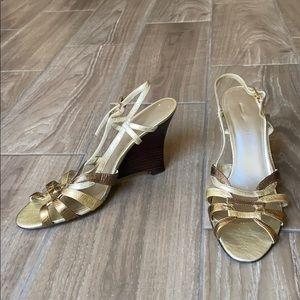 Nine West Gold Leather Strap Wedge Sandals